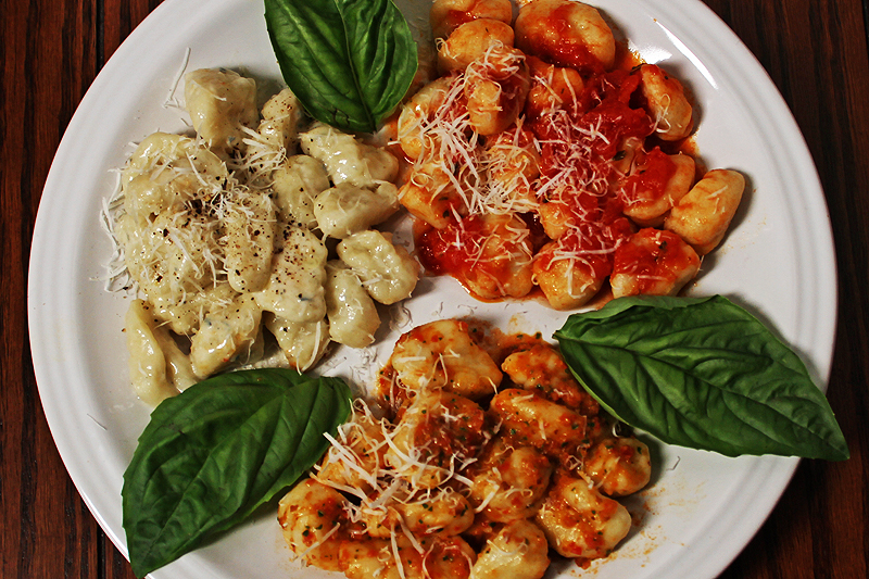 Potato Gnocchi with three sauces