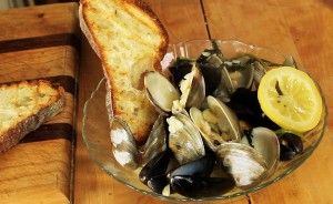 Succulent mussels & clams quickly steamed in a  flavorful broth