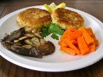 Cod Cakes--Pickled Carrots--Marinated Grilled Trumpet Mushrooms