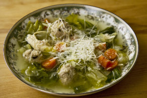 Chicken and Escarole Soup with Veal Meatballs