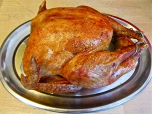 Roasted Turkey Infused with rosemary, sage, lemon & garlic resting