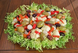 Neapolitan Christmas Salad with pickled vegetables, cauliflower florets and olives