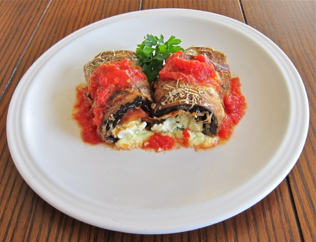 Eggplant rollatini giannis north beach fried eggplant stuffed with ricotta and mozzarella baked in the oven with marinara sauce forumfinder Image collections