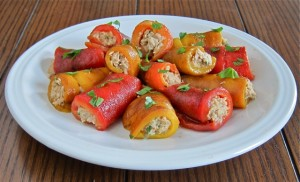 Tuna Stuffed Roasted Pepper Roll-Ups