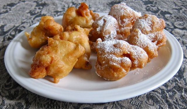 Savory Fritters With Anchovy Sweet Fritters With Powdered Sugar