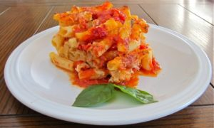A quick, rich baked pasta dish from beautiful Sorrento on the Bay of Naples.