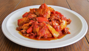 Chicken Roman Style with Red and Yellow Peppers