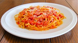 Spaghetti all'Amatriciana, a tomato, onion and pancetta sauce from Rome.