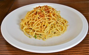 St. Joseph's Day Spaghetti in anchovy sauce topped with toasted breadcrumbs