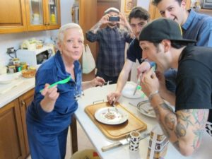 My HP Production crew devouring spaghetti cacao e pepe I cooked in my Rome kitchen