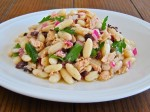 Cannellini beans and canned Sicilian tuna salad with olives and red onion