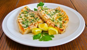 Grilled swordfish with Samarglio Sauce