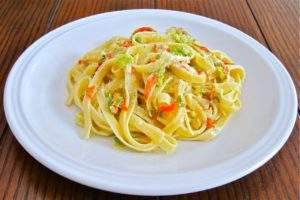 Squash Blossom Cream Sauce with fettuccine.