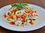 Calamari Salad with Celery, Olives & Roasted Peppers in a Lemon-Olive Oil Dressing