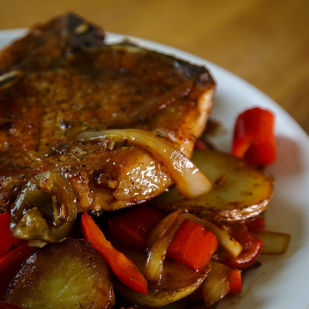 Pork Chops with Cherry Peppers & Potatoes