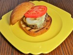 Burger stuffed with mozzarella & topped with fontina