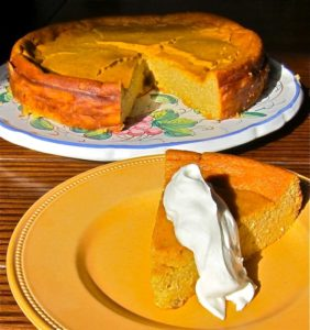 A light pumpkin ricotta cheesecake full of fall spice.