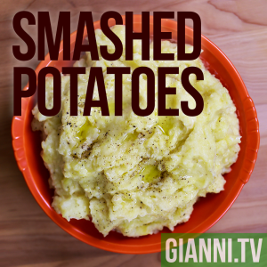 """Smashed"" potatoes flavored with roasted garlic and extra virgin olive oil"